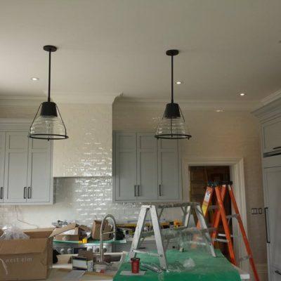Custom Modern Kitchen Renovation with Installation of Pot Lights and Pendant Lights in Dundas Ontario