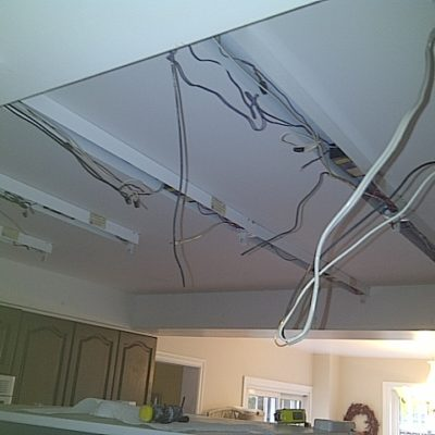 California Ceiling Coming Out of Kitchen Replacing Fluorescent Lights with Pot Lights in Oakville Ontario